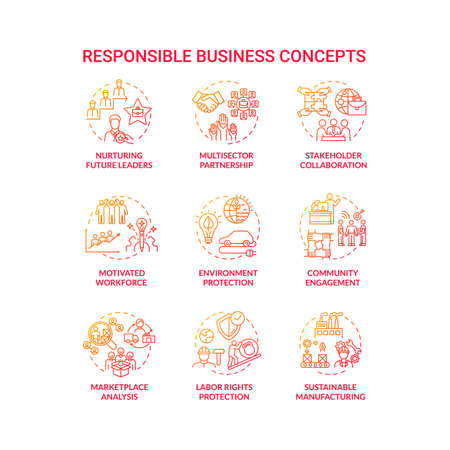Responsible business red gradient concept icons set. Nurture future leader. Environment protection. Sustainable development idea thin line RGB color illustrations. Vector isolated outline drawings