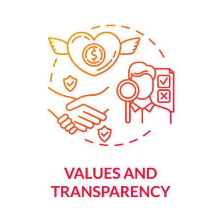 Values and transparency red gradient concept icon. Company reliability. Company culture. Core corporate ethics idea thin line illustration. Vector isolated outline RGB color drawing