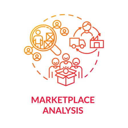 Marketplace analysis red gradient concept icon. Financial report. Commercial research. Information assessment idea thin line illustration. Vector isolated outline RGB color drawing Ilustração