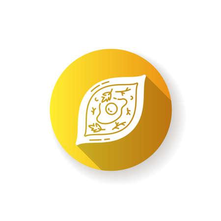 Khachapuri yellow flat design long shadow glyph icon. Oriental meal. Adjara dish. Georgian dish recipe. Lunch cookery. Traditional culinary, national cuisine. Silhouette RGB color illustration
