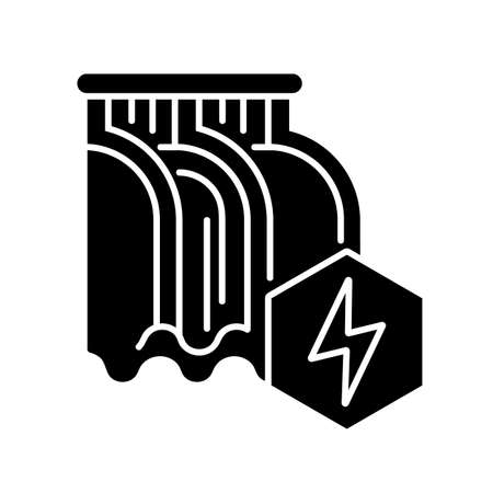 Hydroelectric power station black glyph icon. Alternative energy, hydropower silhouette symbol on white space. Eco friendly electricity generation technology. Water dam vector isolated illustration Ilustração