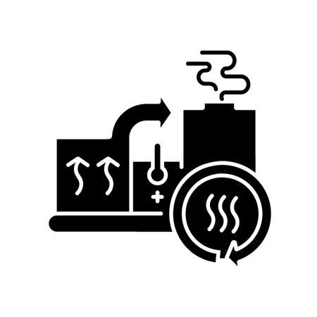 Heat recovery system black glyph icon. Sustainable energy industry, cogeneration silhouette symbol on white space. Power generation with zero waste. Industrial equipment. Vector isolated illustration