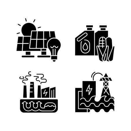 Alternative energy black glyph icons set on white space. Solar panels, geothermal power plant, hydroelectric station and biofuel silhouette symbols. Renewable energy. Vector isolated illustrations