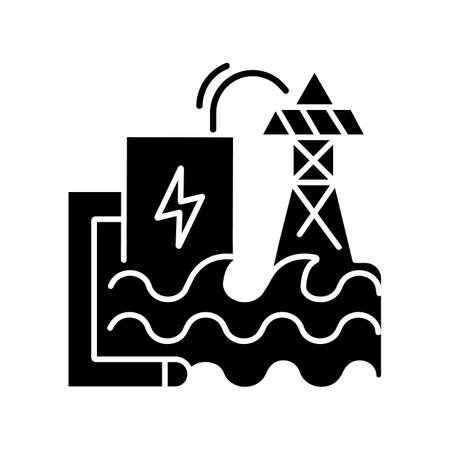 Wave energy black glyph icon. Ecologically safe power plant silhouette symbol on white space. Using sea waves power for electricity generation. Hydroelectric station vector isolated illustration Ilustração
