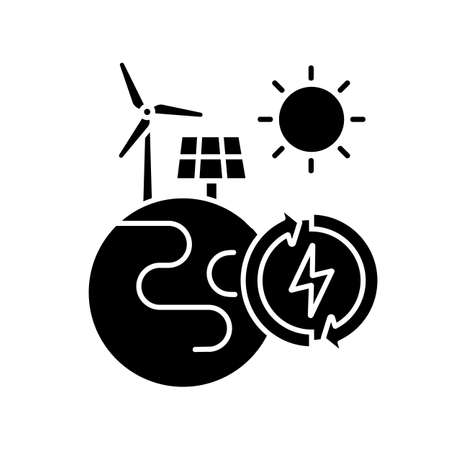 Renewable energy black glyph icon. Alternative power generation sources silhouette symbol on white space. Environment protection. Planet with solar panel and wind turbine vector isolated illustration