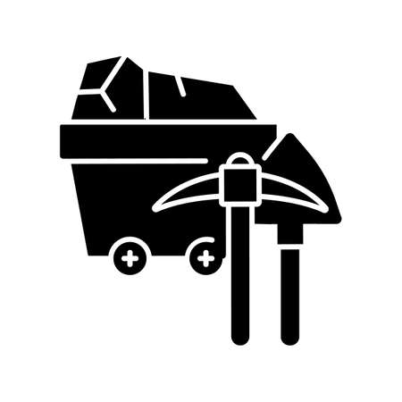 Coal industry black glyph icon. Natural resources exploitation, fossil fuel mining silhouette symbol on white space. Colliery equipment, trolley with coal and pickaxe vector isolated illustration
