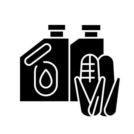 Biofuel black glyph icon. Alternative energy, environment conservation silhouette symbol on white space. Ecologically clean energy source. Containers with organic fuel vector isolated illustration 向量圖像