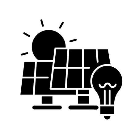 Solar power station black glyph icon. Renewable energy, alternative electricity manufacturing silhouette symbol on white space. Power plant with photovoltaic panels vector isolated illustration Ilustração
