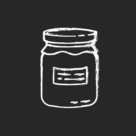 Glass jar chalk white icon on black background. Zero waste, canning. Food conservation, homemade cooking. Reusable glass can organic with jam or honey isolated vector chalkboard illustration
