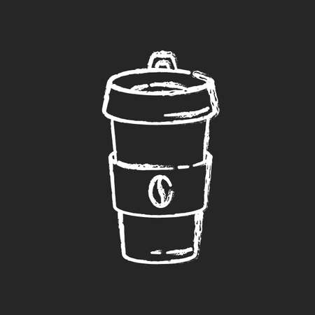 Reusable coffee cup chalk white icon on black background. Biodegradable container for drinks. Coffee break, responsible consumption. Paper cup with beverage isolated vector chalkboard illustration Ilustração
