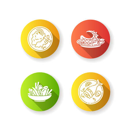 National dish flat design long shadow glyph icons set. Soused herring. Mussels and chips. Octopus dish. Moules frites. Portuguese polvo. Restaurant meal. Silhouette RGB color illustration Ilustração