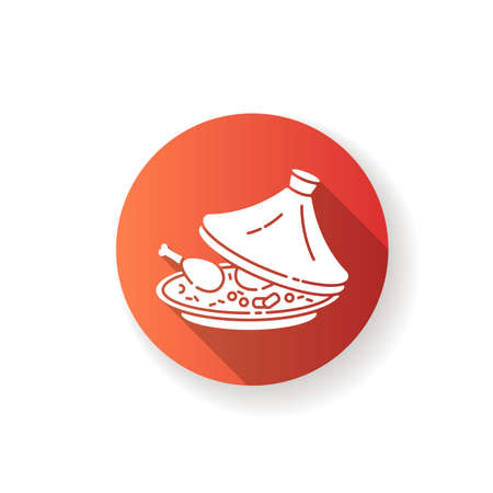 Tagine red flat design long shadow glyph icon. National dish in authentic crockery. Food cooked in pot. African maraq. Marqa from traditional cuisine. Silhouette RGB color illustration Ilustração