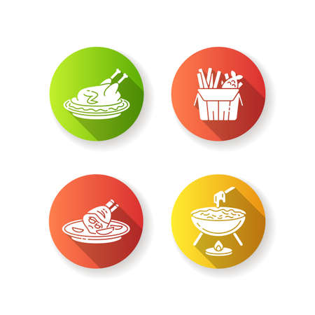 National cookery flat design long shadow glyph icons set. Fast food. Peking duck. British fish and chips. German roasted pork knuckle. Cheese fondu. Silhouette RGB color illustration Ilustração
