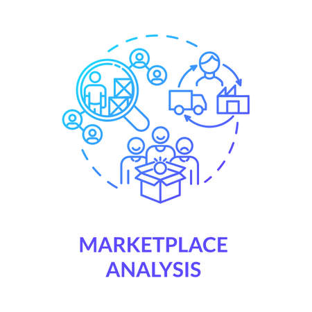 Marketplace analysis blue gradient concept icon. Financial report. Commercial research. Information assessment idea thin line illustration. Vector isolated outline RGB color drawing