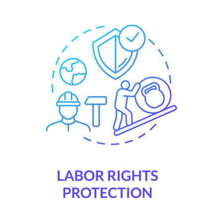 Labor rights protection blue gradient concept icon. Employee health safety. Support labour movement. Trade union idea thin line illustration. Vector isolated outline RGB color drawing