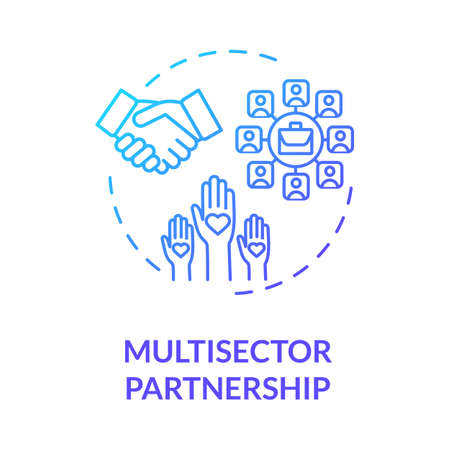 Multisector partnership blue gradient concept icon. Partnership in business. Corporate stakeholders cooperation idea thin line illustration. Vector isolated outline RGB color drawing Ilustração