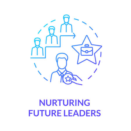 Nurturing future leaders blue gradient concept icon. Education for career growth. Training for corporate executive idea thin line illustration. Vector isolated outline RGB color drawing 矢量图像