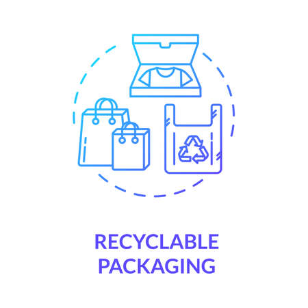 Recyclable packaging blue gradient concept icon. Zero waste pack. Container for sustainable development. Ecological packet idea thin line illustration. Vector isolated outline RGB color drawing