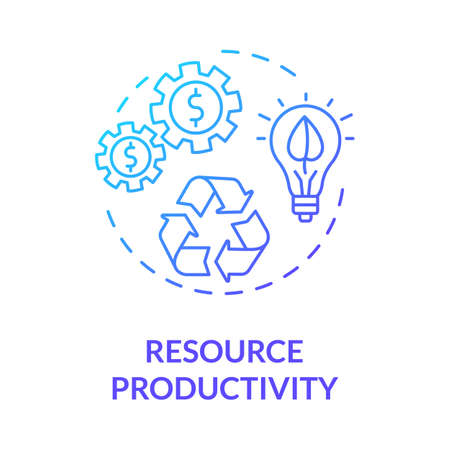 Resource productivity blue gradient concept icon. Conscious consumption. Ecological service. Sustainable development idea thin line illustration. Vector isolated outline RGB color drawing