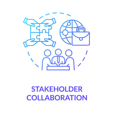 Stakeholder collaboration blue gradient concept icon. Teamwork for project. Networking and partnership. Corporate cooperation idea thin line illustration. Vector isolated outline RGB color drawing Ilustração