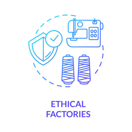 Ethical factories blue gradient concept icon. Textile supplier. Zero waste manufacture. Sustainable production of material idea thin line illustration. Vector isolated outline RGB color drawing
