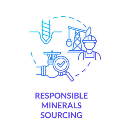 Responsible minerals sourcing blue gradient concept icon. Industrial production. Mining platform. Ethical manufacturer idea thin line illustration. Vector isolated outline RGB color drawing