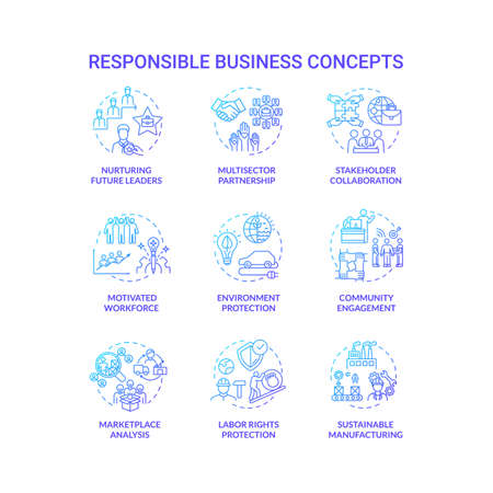 Responsible business blue gradient concept icons set. Nurture future leader. Environment protection. Sustainable development idea thin line RGB color illustrations. Vector isolated outline drawings 向量圖像