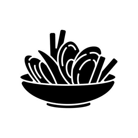 Moules frites black glyph icon. Traditional mussels and chips. French national meal. Brussel culinary. European cuisine recipe. Silhouette symbol on white space. Vector isolated illustration