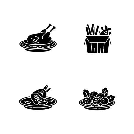 National cookery black glyph icons set on white space. Fast food. Peking duck. British fish and chips. German roasted pork knuckle. Falafel dish. Silhouette symbols. Vector isolated illustration