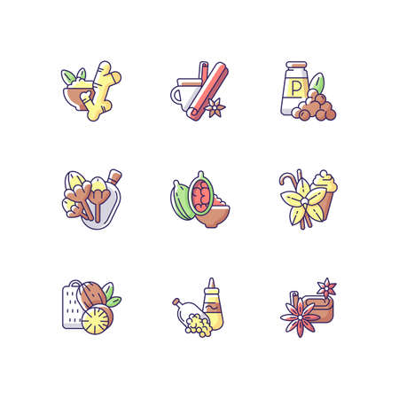 Culinary herbs and spices RGB color icons set. Aromatic flavoring. Asian seasonings. Nutmeg and cinnamon. Ginger and cloves. Cooking ingredients. Indian spices. Isolated vector illustrations