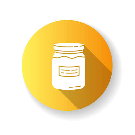 Glass jar yellow flat design long shadow glyph icon. Zero waste, canning. Food conservation, homemade cooking. Reusable glass can organic with jam or honey silhouette RGB color illustration