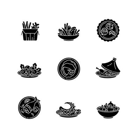 Restaurant dishes black glyph icons set on white space. Fish and chips. Moules frites. Falafel dish. French crepe. Soused herring. Asian seafood. Silhouette symbols. Vector isolated illustration