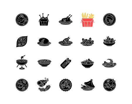 Best national dish black glyph icons set on white space. Traditional meal for tourist attraction. Lunch recipe. French fries. Chinese sea food. Silhouette symbols. Vector isolated illustration  イラスト・ベクター素材