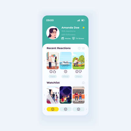 Movie advisor app smartphone interface vector template. Mobile app page day mode design layout. Recent reactions function on screen. Flat UI for application. Film recommendation engine phone display Ilustrace