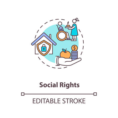 Social rights concept icon. Socio economic rights idea thin line illustration. Basic human needs. Right to housing and education. Vector isolated outline RGB color drawing. Editable stroke