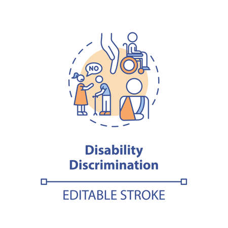 Disability discrimination concept icon. Disabled people prejudice idea thin line illustration. Unequal opportunities. Accessibility. Vector isolated outline RGB color drawing. Editable stroke