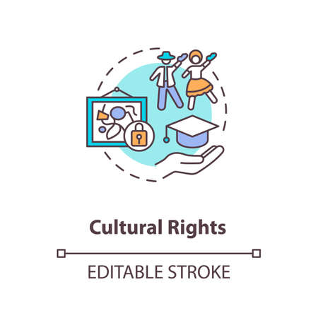 Cultural rights concept icon. Cultural heritage protection idea thin line illustration. Right to science and culture. Authorship interests. Vector isolated outline RGB color drawing. Editable stroke