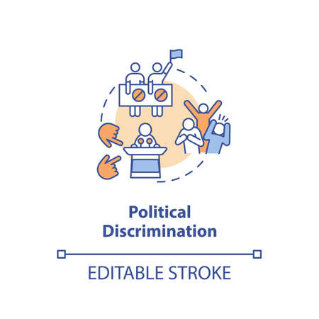 Political discrimination concept icon. Mistreatment based on political beliefs and activities idea thin line illustration. Vector isolated outline RGB color drawing. Editable stroke Illusztráció