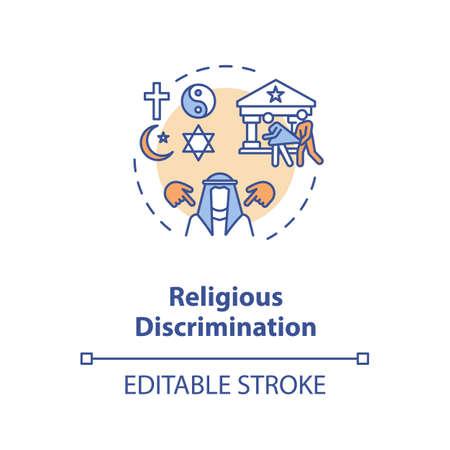 Religious discrimination concept icon. Mistreatment based on religion idea thin line illustration. Religious persecution. Vector isolated outline RGB color drawing. Editable stroke Ilustración de vector