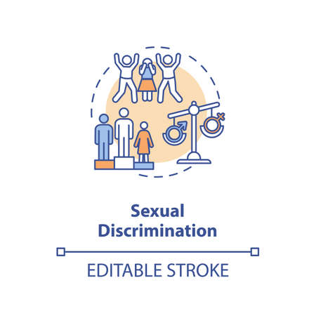 Sexual discrimination concept icon. Sexual prejudice idea thin line illustration. Gender based mistreatment. Harassment. Vector isolated outline RGB color drawing. Editable stroke
