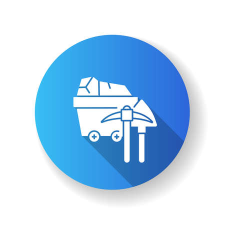 Coal industry blue flat design long shadow glyph icon. Natural resources exploitation, fossil fuel mining. Colliery equipment, trolley with coal and pickaxe silhouette RGB color illustration