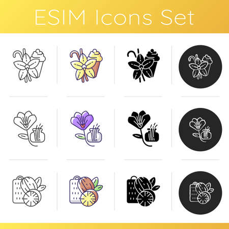 Spices icons set. Aromatic flavoring. Indian food seasoning. Cooking condiment. Nutmeg and vanilla sticks. Saffron. Linear, black and RGB color styles. Isolated vector illustrations Ilustração