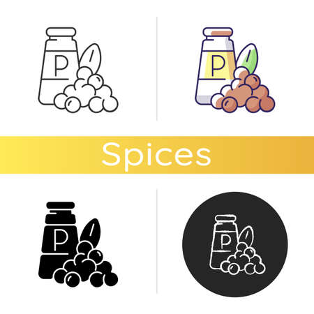 Black pepper icon. Black peppercorn. Natural supplement. Spicy food seasoning. Cooking herbs and condiments. Indian spices. Linear black and RGB color styles. Isolated vector illustrations