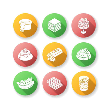 Traditional desserts flat design long shadow glyph icons set. European cuisine. Italian and French sweets. Pavlova. Apple strudel. Belgian waffles. Silhouette RGB color illustration