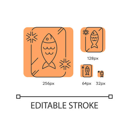 Frozen food orange linear icons set. Preserved fish. Frosted organic seafood. Cold salmon. Thin line customizable 256, 128, 64 and 32 px vector illustrations. Contour symbols. Editable stroke Vectores