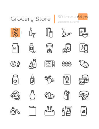 E commerce category linear icons set. Dairy products. Food and drinks in store. Customizable thin line contour symbols. Isolated vector outline 64 x 64 px illustrations. Editable stroke Vetores