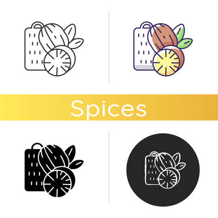 Nutmeg icon. Nut meg spice. Evergreen tree seeds. Desserts flavoring. Cooking and baking condiment. Organic food. Linear black and RGB color styles. Isolated vector illustrations Ilustração