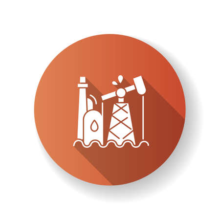 Oil industry brown flat design long shadow glyph icon. Petroleum refinery station, fossil fuel extraction plant. Natural resources exploitation. Oil pump, derrick silhouette RGB color illustration