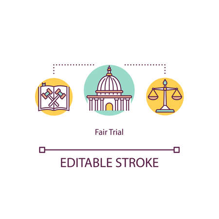 Fair trial concept icon. Right for the legal defense idea thin line illustration. Human rights declaration. International law. Vector isolated outline RGB color drawing. Editable stroke