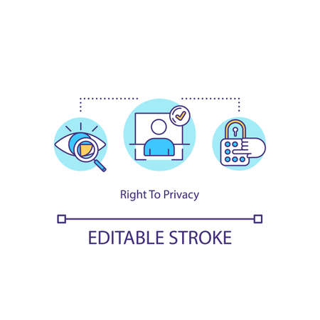 Right to privacy concept icon. Private actions protection idea thin line illustration. Personal information security. Password. Vector isolated outline RGB color drawing. Editable stroke